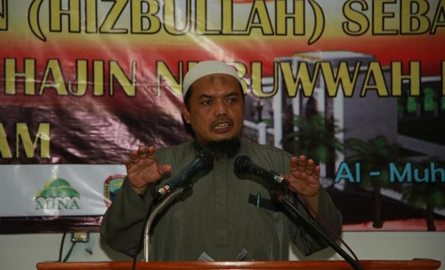 Ustadz Abu Wihdan saat menyampaikan tausiyahnya pada Tabligh Akbar Jama'ah Muslimin (Hizbullah) Wilayah Lampung, di Masjid At-Taqwa Kompleks Ma'had Al-Fatah Al-Muhajirun, Lampung, Ahad, (29/3).Photo : Hadis/MINA.