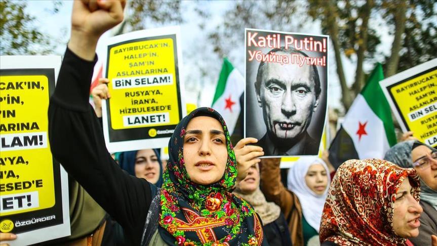 WARGA TURKI PROTES RUSIA BOM WARGA SIPIL TURKMEN