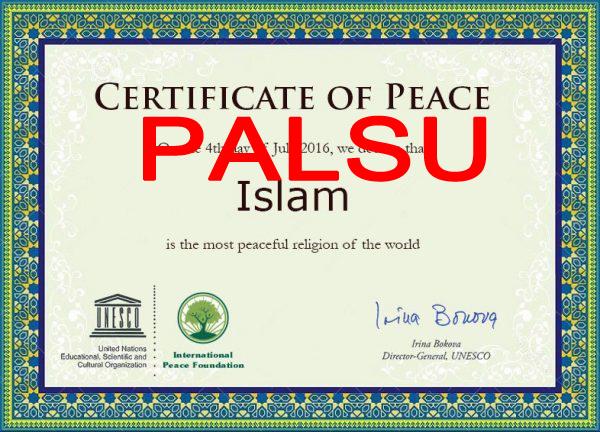 """UNESCO Bantah Keluarkan Sertifikat """"Islam Agama Paling Damai"""""""