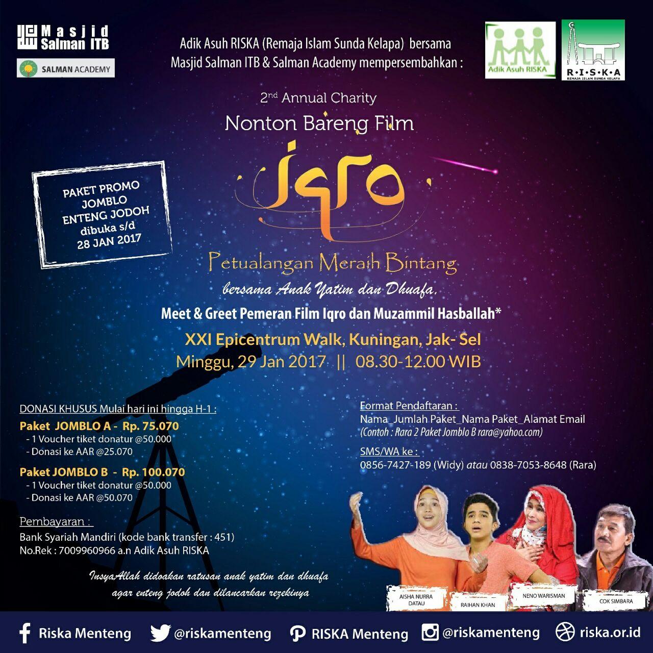 "RISKA Kembali Gelar ""Second Annual Nobar Charity Film IQRO"""