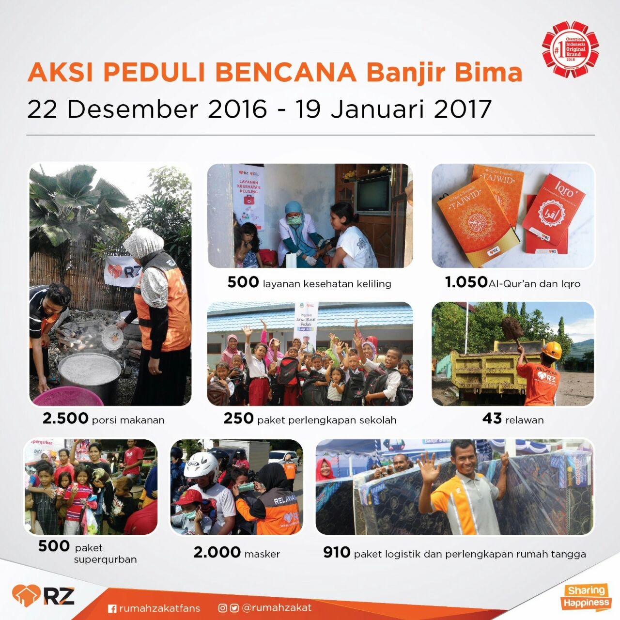 Bantu Recovery Bima, Relawan RZ Fokus Bantu Proses Paska Banjir