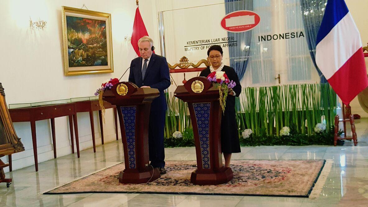Menlu Indonesia-Menlu Perancis Bahas Penyelesaian Konflik Palestina-Israel