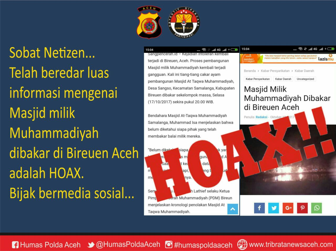 Polda Aceh Bantah Pembakaran Masjid, Yang Terjadi Pembakaran Bedeng