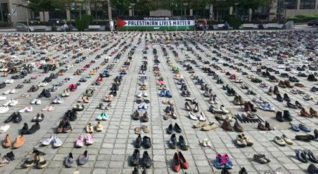 4.500 Pasang Sepatu di Halaman Kantor Dewan Uni Eropa, Penghormatan Pada Warga Palestina