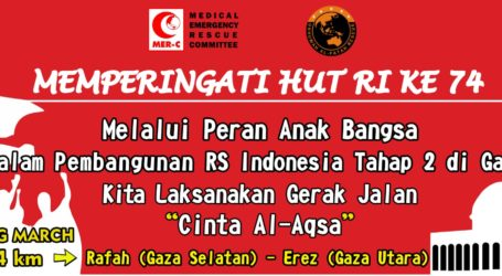 Sambut HUT RI ke-74, Puluhan Relawan Indonesia Long March Cinta Al-Aqsa di Gaza