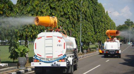 PMI Semprot Desinfektan di Lanud Halim Perdanakusuma