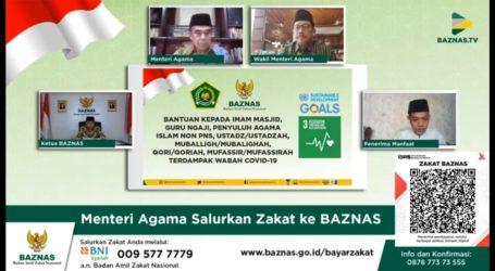 Menag Salurkan ZIS Secara Online Lewat BAZNAS