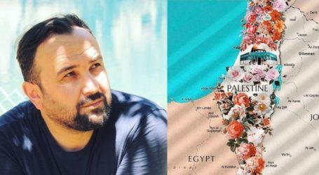 Seniman Turki Menggambar Peta Palestina Berhias Bunga