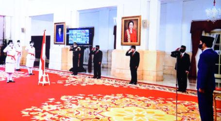 Presiden Pimpin Upacara Pengukuhan Paskibraka Peringatan Kemerdekaan 75 Tahun RI