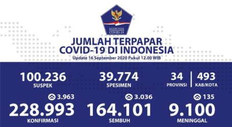Covid-19 di Indonesia per 16 September : Total 228.993 Kasus