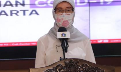 Kantor Dinas Kesehatan Provinsi DKI Jakarta Disemprot Cairan Disinfektan